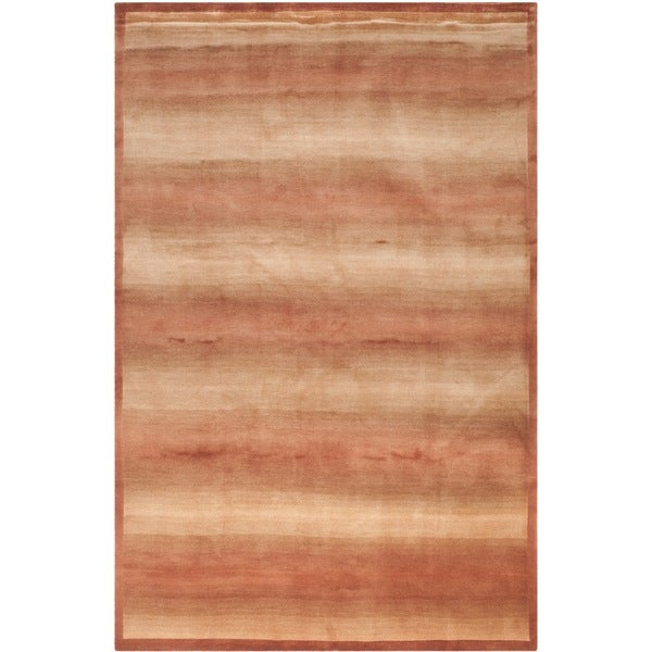 Safavieh Hand-knotted Tibetan Contemporary Striped Multicolored Wool/ Silk Rug - 9' x 12'
