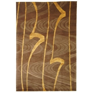 Safavieh Hand-knotted Tibetan Contemporary Abstract Brown/ Gold Wool/ Silk Rug (6' x 9')