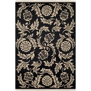 Safavieh Hand-knotted Tibetan Floral Black Wool Rug (9' x 12')