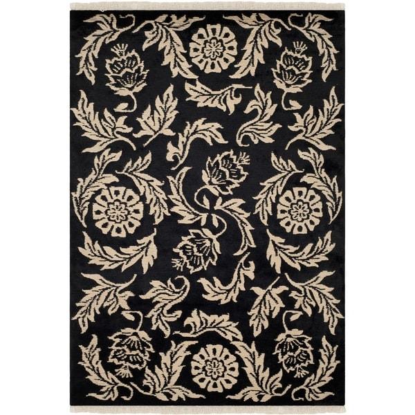 Safavieh Hand-knotted Tibetan Floral Black Wool Rug (9' x 12')