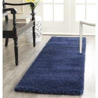 Safavieh Milan Shag Navy Blue Runner Rug (2' x 6')