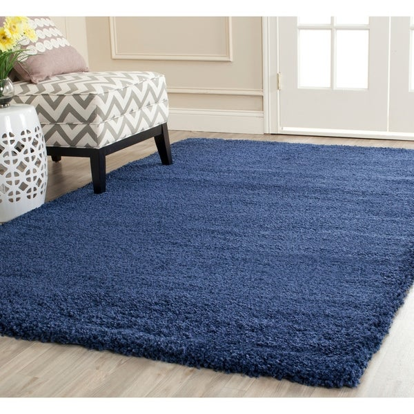 Shop Safavieh Milan Shag Navy Blue Rug 4 X 6 On Sale