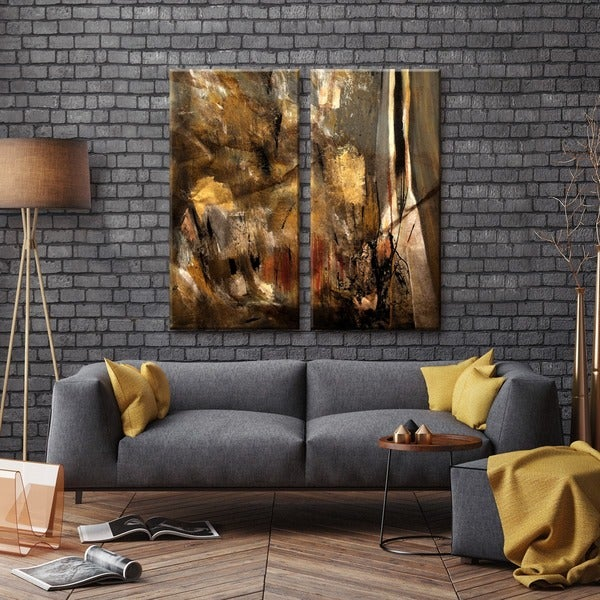 Ready2HangArt U0026#x27;ETABX Iu0026#x27; 2 Piece Abstract Oversized Canvas