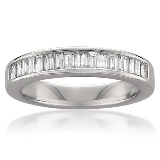 Montebello 14k White Gold 3/4ct TDW Baguette Diamond Wedding Band