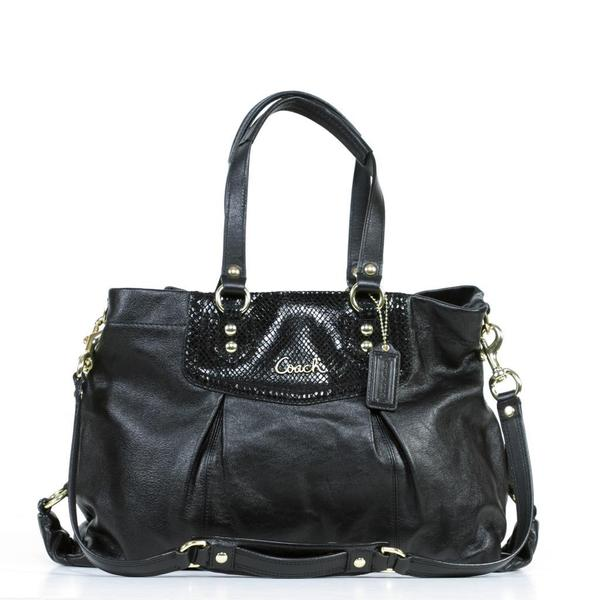 21ca1c76c Shop Coach 'Ashley' Black Leather Carryall Bag - Free Shipping Today ...