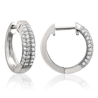 Montebello 14k White Gold 2/5ct TDW Diamond Hoop Earrings (H-I, I1-I2)