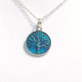 Atkinson Creations Blue 'Tree of Life' Circle Silver Pendant Necklace