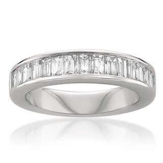 Montebello 14k White Gold 1ct TDW Baguette Diamond Wedding Band