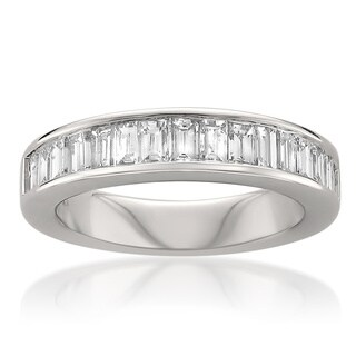 Montebello 14k White Gold 1ct TDW Baguette Diamond Wedding Band