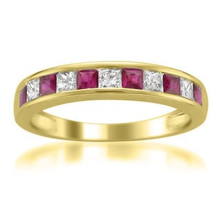 Montebello 14k Yellow Gold Ruby and 1/4ct TDW Diamond Band (H-I, I1-I2) - Red