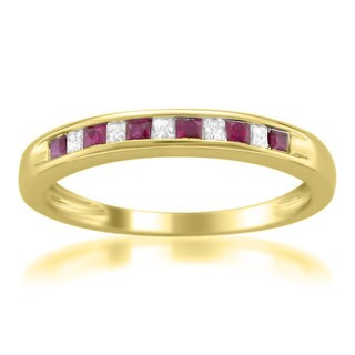 Montebello 14KT Yellow Gold Ruby and 1/10ct TDW Diamond Band