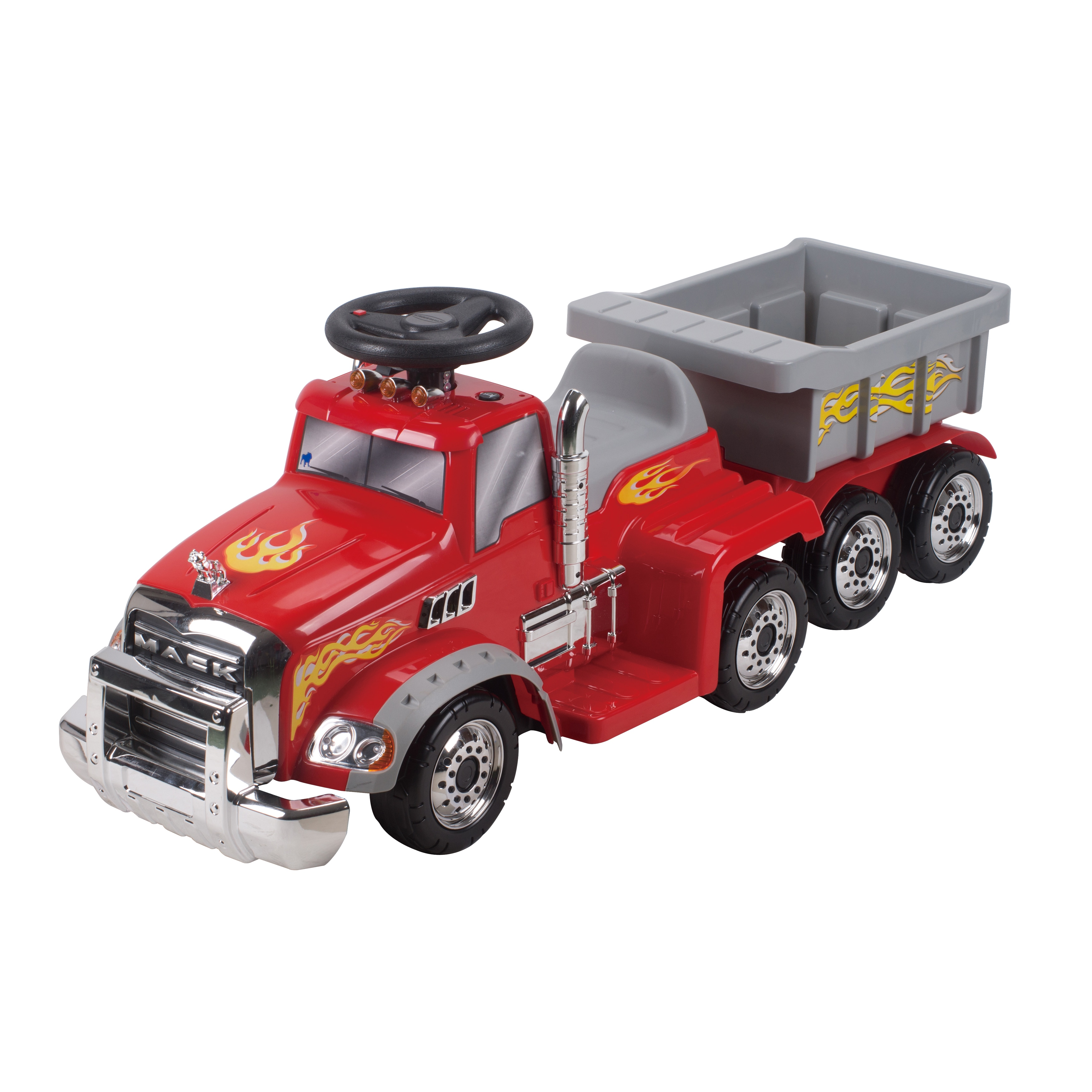 Mack Truck With Trailer 6 Volt Ride on (RedDimensions 47.5 inches long x 18 inches wide x 18 inches highWeight 18 poundsBattery type 6 VoltsBattery running time 1 2 HoursCharging time 1 hourAccessories included n/aRecommended ages Ages 18 to 36 Mon