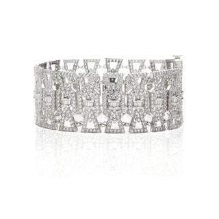 Blue Box Jewels Rhodium-plated Silver CZ 7.25-inch Link Bracelet