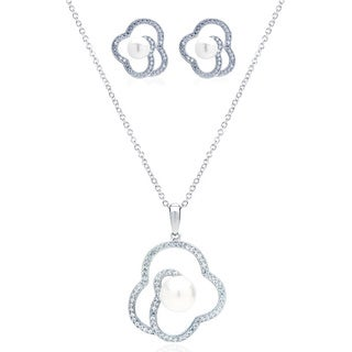 Blue Box Jewels Rhodium-plated Silver EQ Star Cubic Zirconia/ Simulated Pearl Jewelry Set
