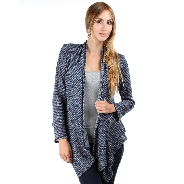 Stanzino Women's Blue Striped Long Sleeve Cardigan