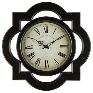 'Tessa' Distressed Black Wall Clock|https://ak1.ostkcdn.com/images/products/8403149/8403149/Tessa-Distressed-Black-Wall-Clock-P15703725.jpg?impolicy=medium