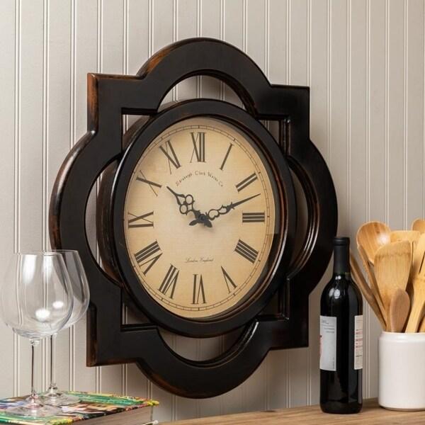 "Oversized 23.5"" Diameter Wood Wall Clock"