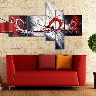 'Big Red Splash Abstract' Hand Painted Canvas Art (5 Piece)