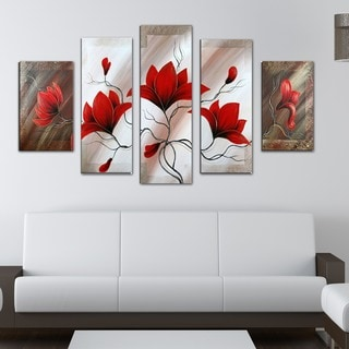 Red Floral Abstract' Large 5-piece Oil Hand-painted Canvas