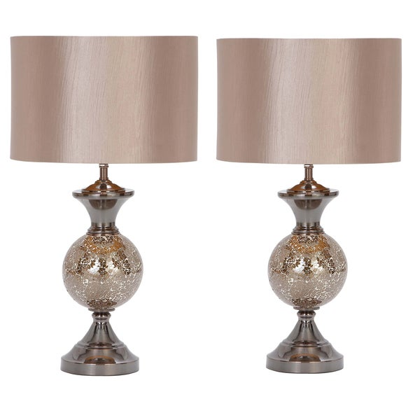 Casa Cortes Lush Mosaic Art Glass 25 Inch Table Lamps Set