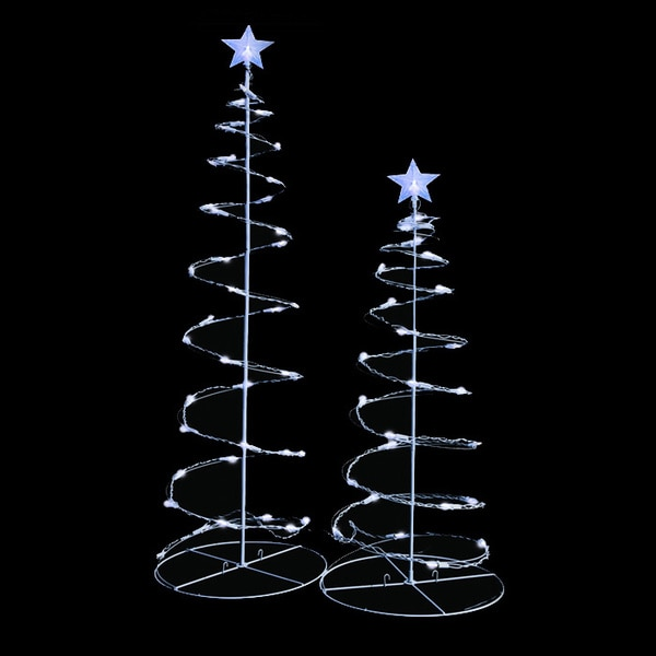 Shop Decorative 3-foot and 4-foot Clear LED Spiral Trees (Set of 2) - Free Shipping Today - Overstock - 8403202
