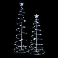 Decorative 3-foot and 4-foot Clear LED Spiral Trees (Set of 2)
