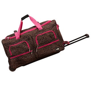 Rockland Deluxe Pink Leopard Mobilizer Lightweight 30-inch Rolling Duffel Bag