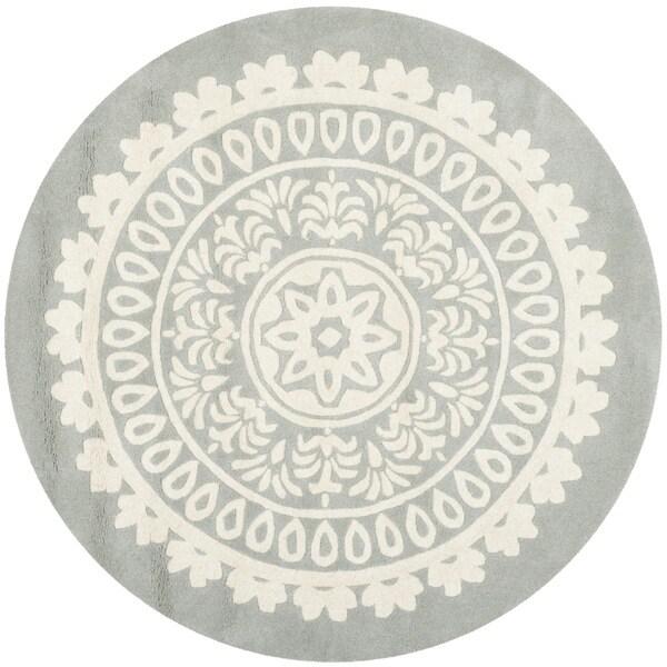 Safavieh Handmade Bella Grey Ivory Wool Rug 5 Round