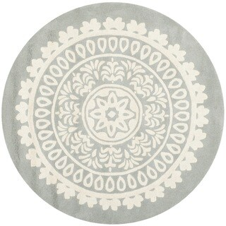Safavieh Handmade Bella Grey/ Ivory Wool Rug (7' Round)