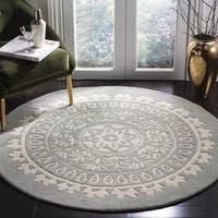 Safavieh Handmade Bella Grey/ Ivory Wool Rug - 7' x 7' Round