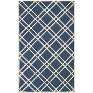 Safavieh Handmade Moroccan Cambridge Crisscross-pattern Navy/ Ivory Wool Rug (6' x 9')