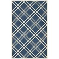 Safavieh Handmade Moroccan Cambridge Crisscross-pattern Navy/ Ivory Wool Rug - 6' x 9'