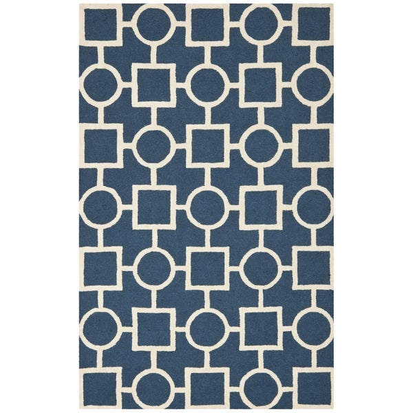 Safavieh Handmade Moroccan Cambridge Navy/ Ivory Wool Rug (5' x 8')