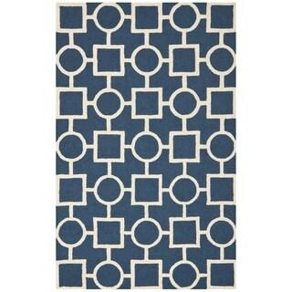 Safavieh Handmade Moroccan Cambridge Navy/ Ivory Wool Rug (6' x 9')