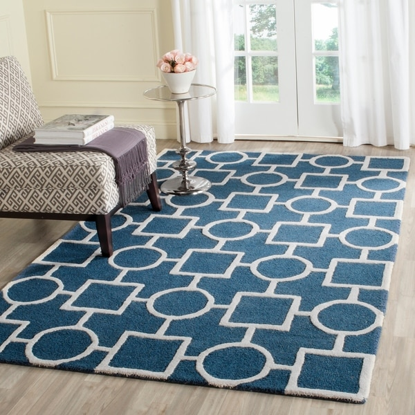 Durable Safavieh Handmade Moroccan Cambridge Navy/ Ivory Wool Rug - 9' x 12'
