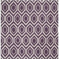 Safavieh Handmade Moroccan Chatham Purple/ Ivory Geometric Wool Rug - 7' Square