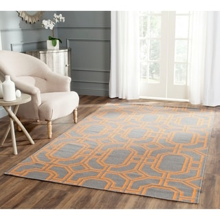 Safavieh Hand-woven Moroccan Reversible Dhurrie Blue/ Orange Wool Rug (4' x 6')