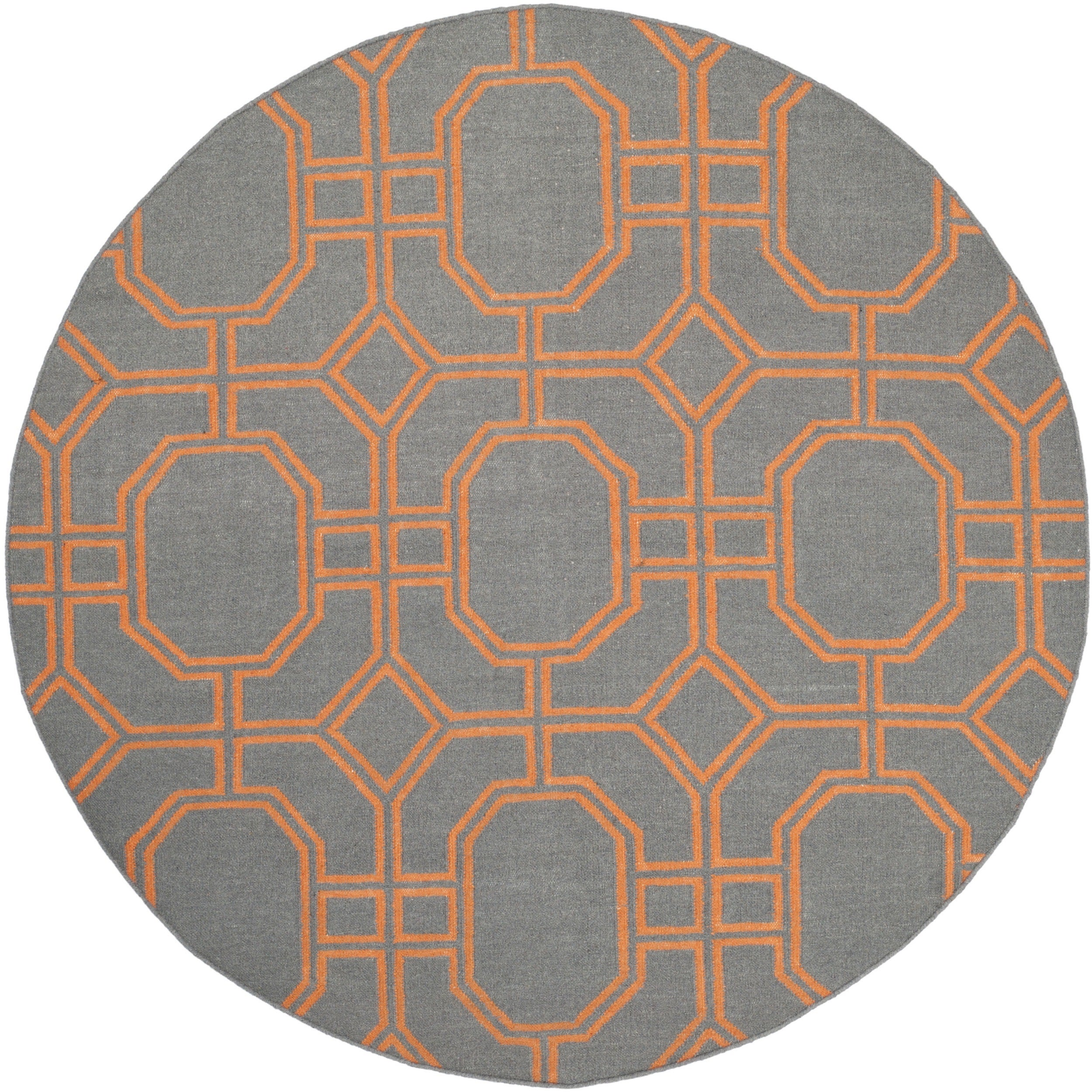 safavieh hand woven moroccan reversible dhurrie blue orange wool rug 6 39 round ebay. Black Bedroom Furniture Sets. Home Design Ideas