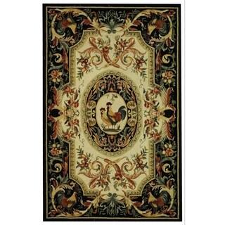 Safavieh Hand-hooked Chelsea Ivory/ Black Wool Rug (6' x 9')