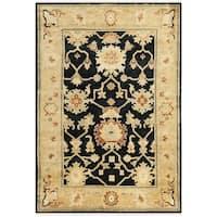 Safavieh Hand-knotted Oushak Black/ Light Gold Wool Rug - 4' x 6'