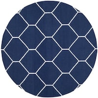 Safavieh Hand-woven Moroccan Reversible Dhurrie Navy/ Ivory Wool Rug - 6' Round