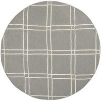 Safavieh Hand-woven Moroccan Reversible Dhurrie Grey/ Ivory Wool Rug - 6' Round
