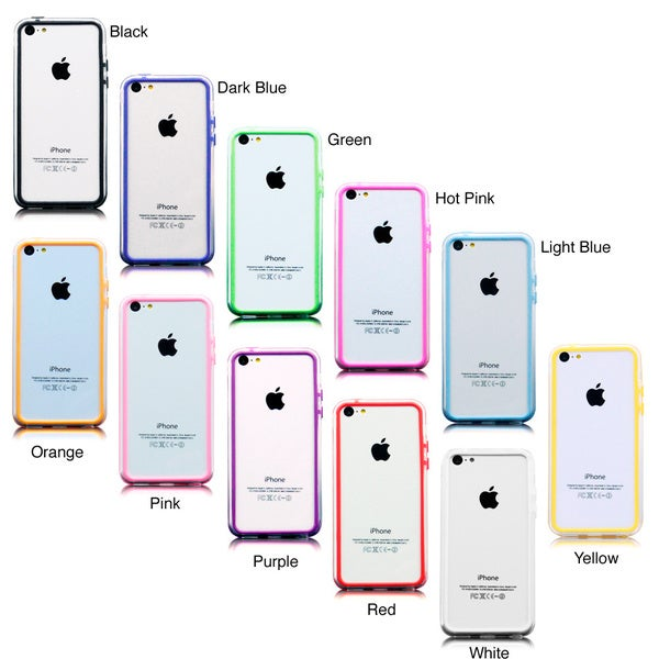 Gearonic TPU Frame Bumper Skin Case Cover with Buttons for iPhone 5C
