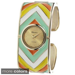 Geneva Platinum Women's Metal Print Cuff Watch