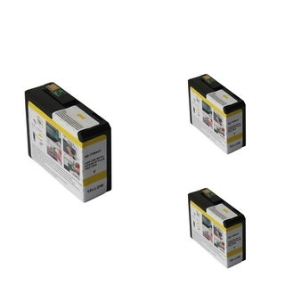 INSTEN Epson T5804Y 80ml Yellow Cartridge Set (Remanufactured) (Pack of 3)