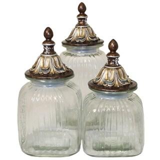 Casa Cortes 'Baroque' 3-piece Glass Canister Set