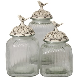 Casa Cortes Antique White 'Songbird' 3-piece Glass Canister Set