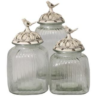 Casa Cortes Antique White 'Songbird' 3-piece Glass Canister Set