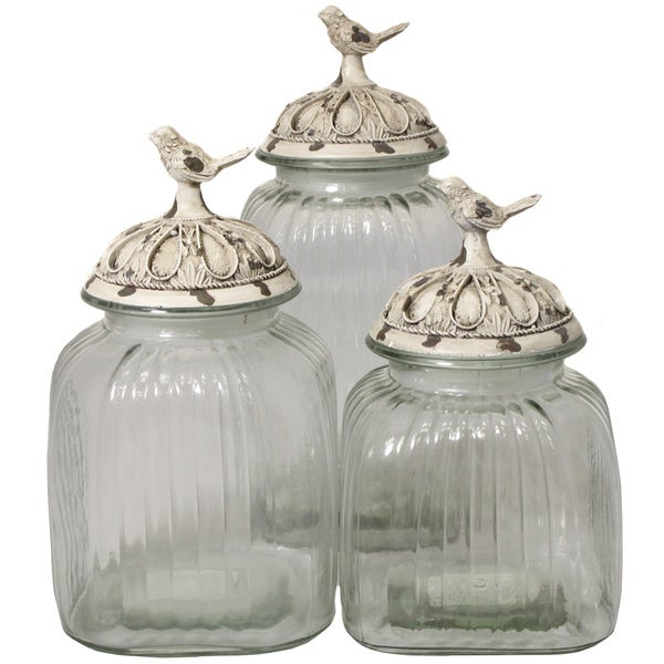 Shop Casa Cortes Antique White Songbird 3 Piece Glass