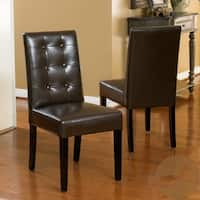 Roland Brown Bonded Leather Dining Chairs (Set of 2) by Christopher Knight Home